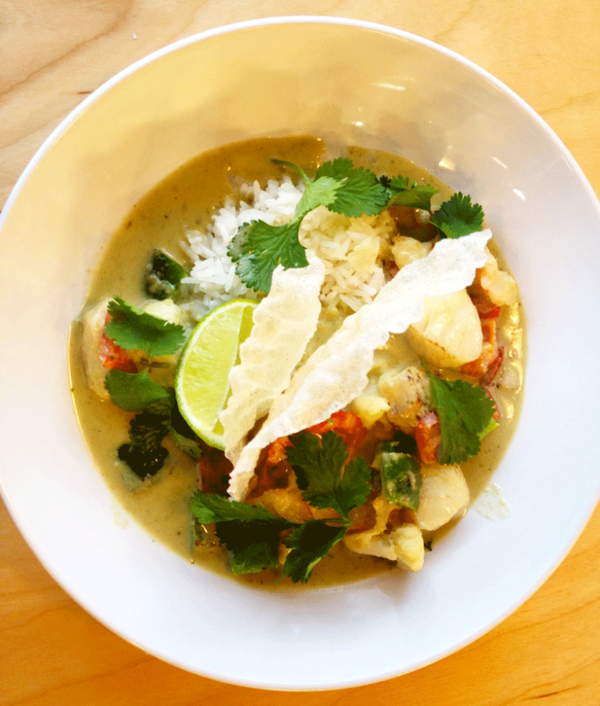 Chef-Ross-Derrick-White-Fish-Prawn-and-Vegetable-Green-Curry-with-Coconut-rice-recipe